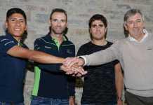 Nairo Quintana, Alejandro Valverde, Mikel Landa, Eusebio Unzué. Tw. Movistar Team