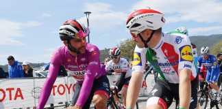 Fernando Gaviria - Elia Viviani Etpaa 4 Giro de Italia - Ph. Giro d'Italia - Escarabajos Colombianos