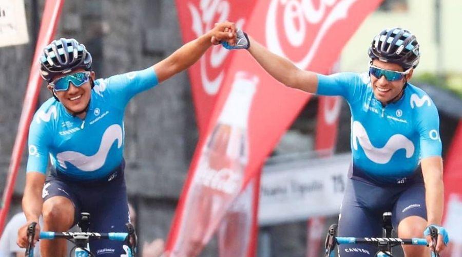 Richard-Carapaz - Mikel Landa Vuelta a Asturias (Ph. Movistar Team - Photo Gomez Sport)- Escarabajos Colombianos