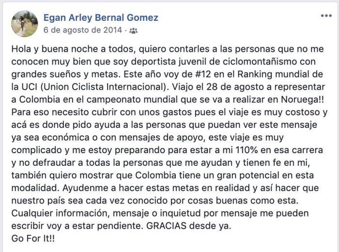 Gracias Egan Bernal