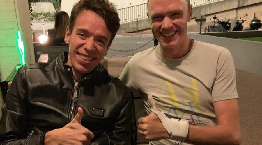 Rigoberto Urán visita a Chris Froome Giro de Rigo