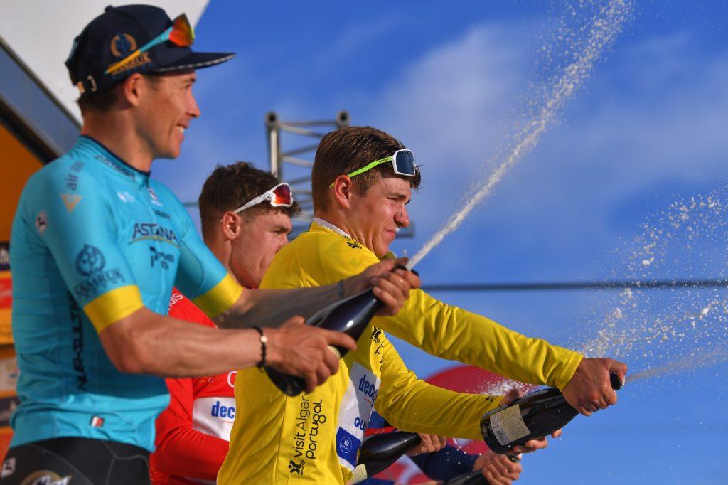 Podio Vuelta ALgarve 2020 Remco Evenepoel Miguel Ángel López