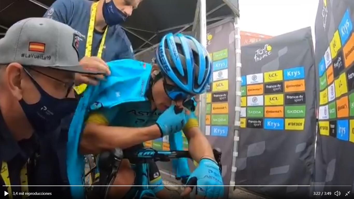 Vacío Miguel Ángel López etapa 17 Tour de Francia 2020 - www.ciclismocolombiano.com