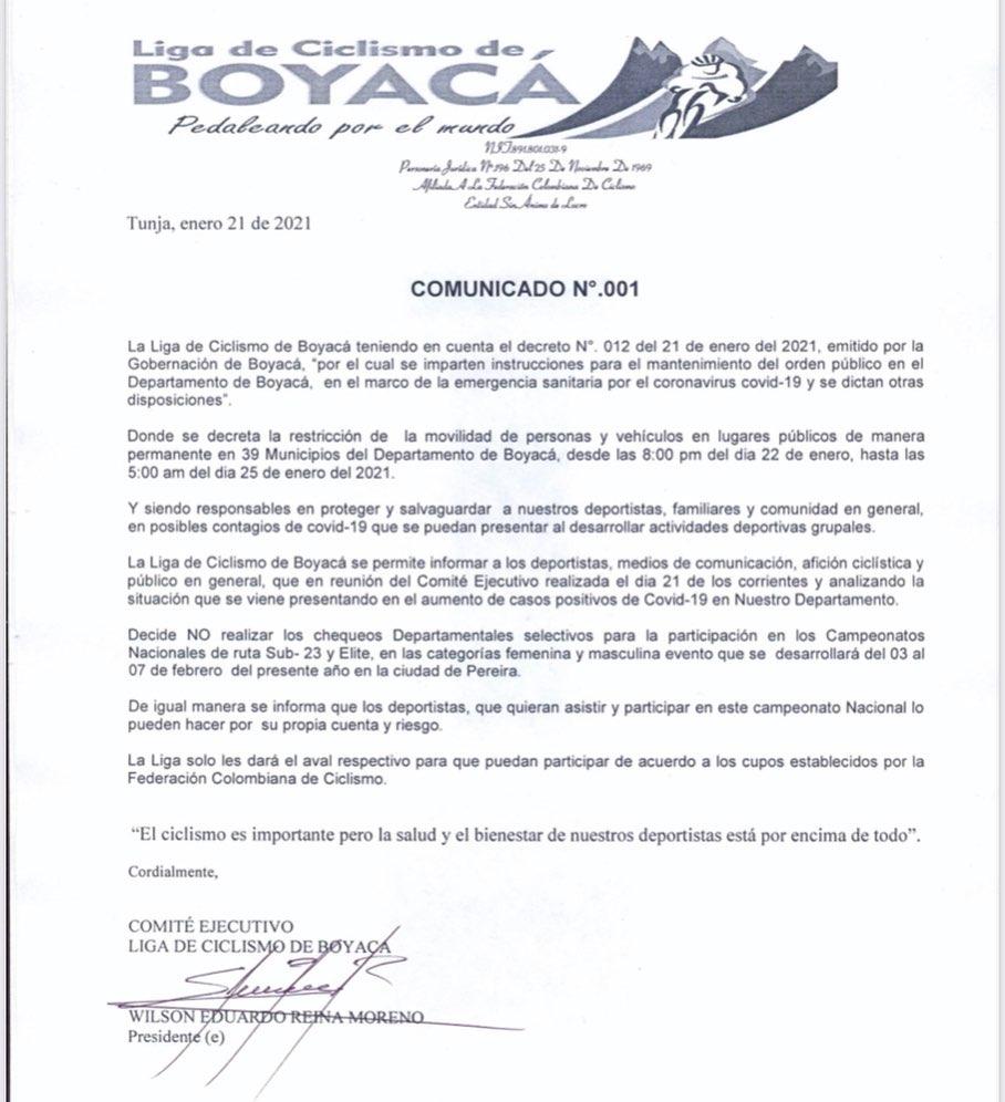 Caran Boyacá ciclismo Nacionales 2021