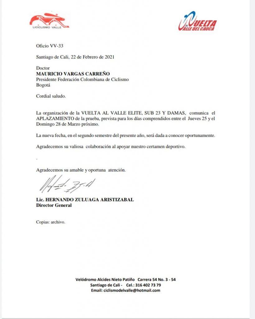 Vuelta Valle 2021 aplaza
