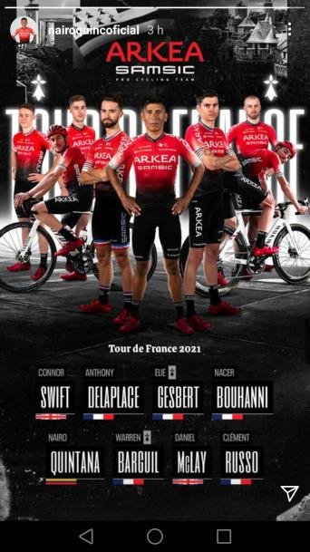 Nairo Quintana conoce la escuadra con la que el Arkea Samsic va al Tour de Francia 2021