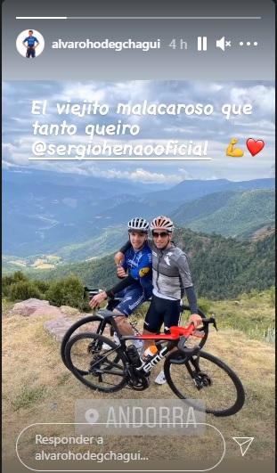 Álvaro Hodeg y Sergio Luis Henao durante un entrenamiento en Andorra