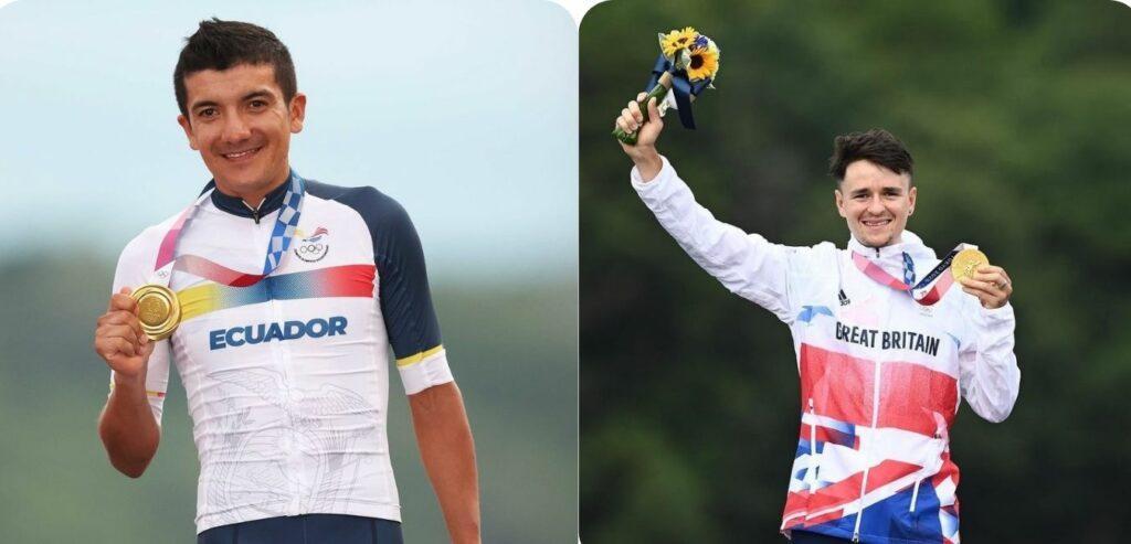 Richard Carapaz y Tom Pidcock, corredores del Team Ineos que obtuvieron medalla de oro en Tokio 2020