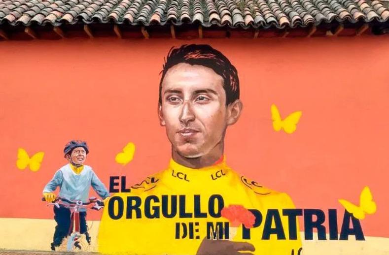 Así modifican el mural de Egan Bernal Julián Gómez