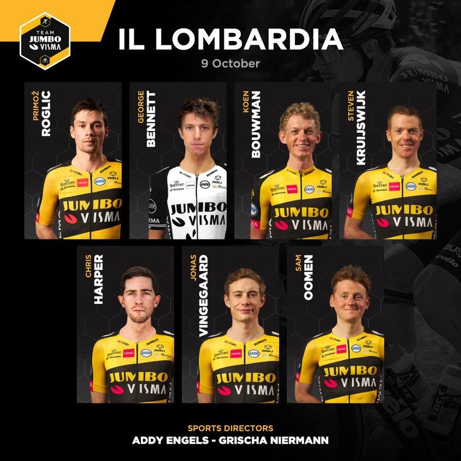Primoz Roglic y el equipo que le pone el Jumbo Visma para el Giro de Lombardía 2021